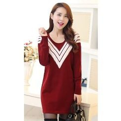 Romantica - Long-Sleeve Paneled Knit Tunic