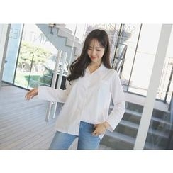 Envy Look - Notched-Collar Long-Sleeve Shirt