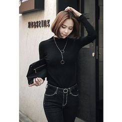 REDOPIN - High-Neck Rib-Knit Top