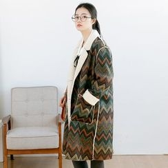 Forest Girl - Chevron Fleece-Lined Coat