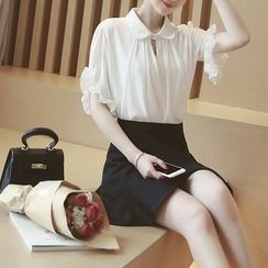 Mida - Frill Trim Short-Sleeve Chiffon Blouse