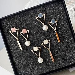 True Glam - Triangle Non-Matching Earrings