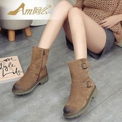 Amenx - Buckled Short Boots