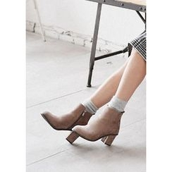 GOROKE - Chunky-Heel Faux-Suede Ankle Boots