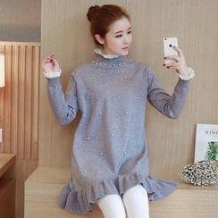 Ohayo - Maternity Embellished Ruffle Hem Knit Tunic