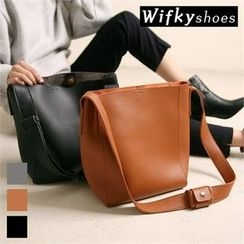Wifky - Inset Pouch Faux-Leather Shoulder Bag