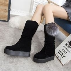 YIVIS - Bobble Hidden Wedge Mid-calf Boots