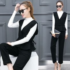 Mandalle - Set: Mock Neck Long-Sleeve Knit Top + Peplum Vest + Pants