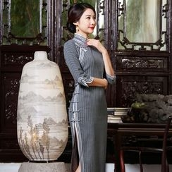 Miss Four Qipao - 3/4-Sleeve Striped Cheongsam