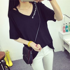 MayFair - Cutout Shoulder Embroidered  T-Shirt