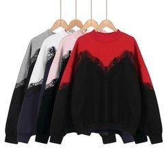 Momewear - Long-Sleeve Lace-Panel Top