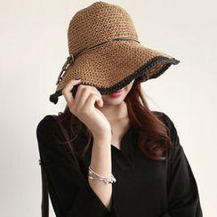 NIPONJJUYA - Contrast-Trim Straw Sun Hat