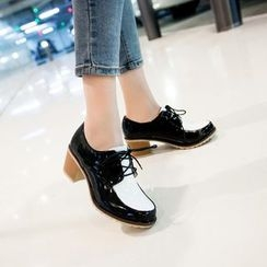 YOUIN - Chunky-Heel Lace-Up Oxfords