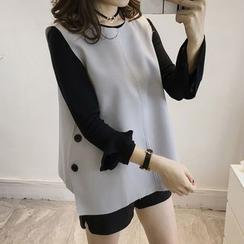 Little V - 套裝: 純色長袖上衣 + 後結帶背心