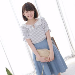 Tokyo Fashion - Lace-Collar Check Top