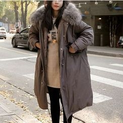 OTTI - Furry Hooded Long Padded Coat