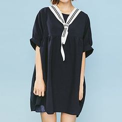 Heynew - Contrast Trim Tie Front Elbow Sleeve Dress