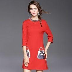 Ozipan - 3/4-Sleeve Embellished-Neckline Sequined Dress