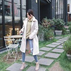 mimi&didi - Stitched Double-Breasted Wool Blend Coat
