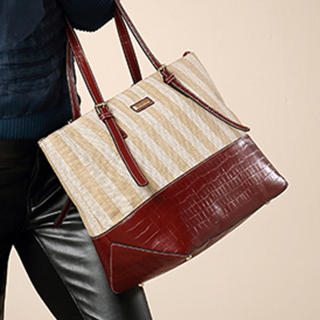 MBaoBao - Croc-Grain Panel Striped Tote
