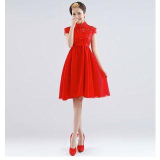 Royal Style - Mandarin Collar Cap-Sleeve Lace A-Line Cocktail Dress