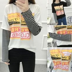 PopCult - Printed Mock Two-Piece Long-Sleeve T-Shirt
