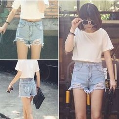 Glen Glam - Distressed Denim Shorts