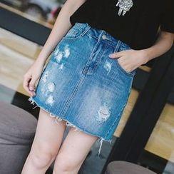 Wimi girls - Distressed Raw Hem Mini Denim Skirt