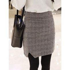 hellopeco - Slit-Front Checked Skirt