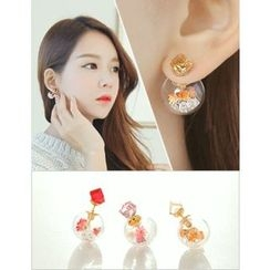 soo n soo - Flower-Ball Double-Sided Earrings