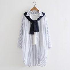 PP家 - 细直条纹领结带长袖衬衫