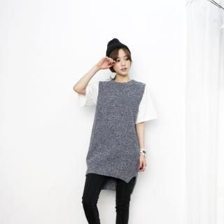 miss panda - Side-Slit Sleeveless Knit Dress