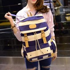 Seok - 条纹翻盖背包