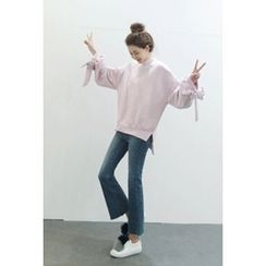 ATTYSTORY - Beribboned Cuff Brushed-Fleece Lined Pullover