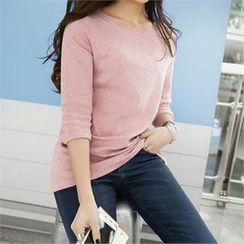 PEPER - Round-Neck Elbow-Sleeve T-Shirt