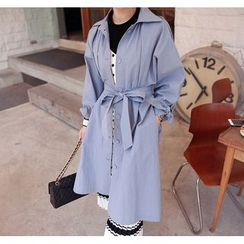 Miamasvin - Single-Breasted Trench Coat with Sash
