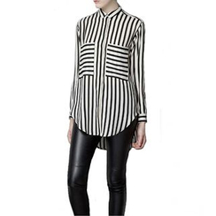 Richcoco - Striped Chiffon Dip Back Shirt