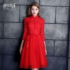 靜世奇緣 - 七分袖中式領禮服裙