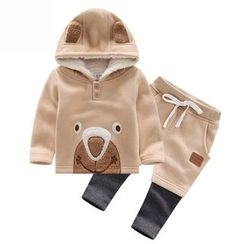 Endymion - Kids Set: Bear Applique Hoodie + Mock Two Piece Pants