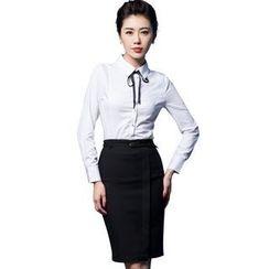 艾尚臣 - 套裝: 長袖襯衫 + 鉛筆短裙