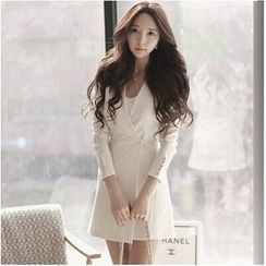 Clospace - Plain Long Sleeve Coatdress
