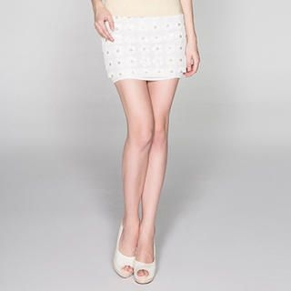 O.SA - Sequined Flower-Front Miniskirt