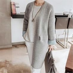 JOAMOM - Open-Front Cuff-Sleeve Long Cardigan