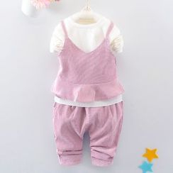 Youtale - Kids Set: Long-Sleeve T-Shirt + Corduroy Camisole Top + Pants