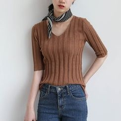 ELLY - Ribbed V-Neck Elbow-Sleeve Top
