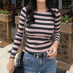 Seoul Fashion - Round-Neck Slim-Fit Striped T-Shirt