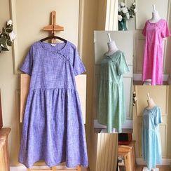 Rosadame - 短袖中式盘扣连衣裙