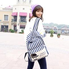 Crystal - Mustache Print Striped Canvas Backpack