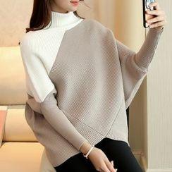 Ageha - Colour Block Mock-neck Knit Top