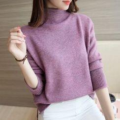 Ageha - Melange Mock-neck Knit Top